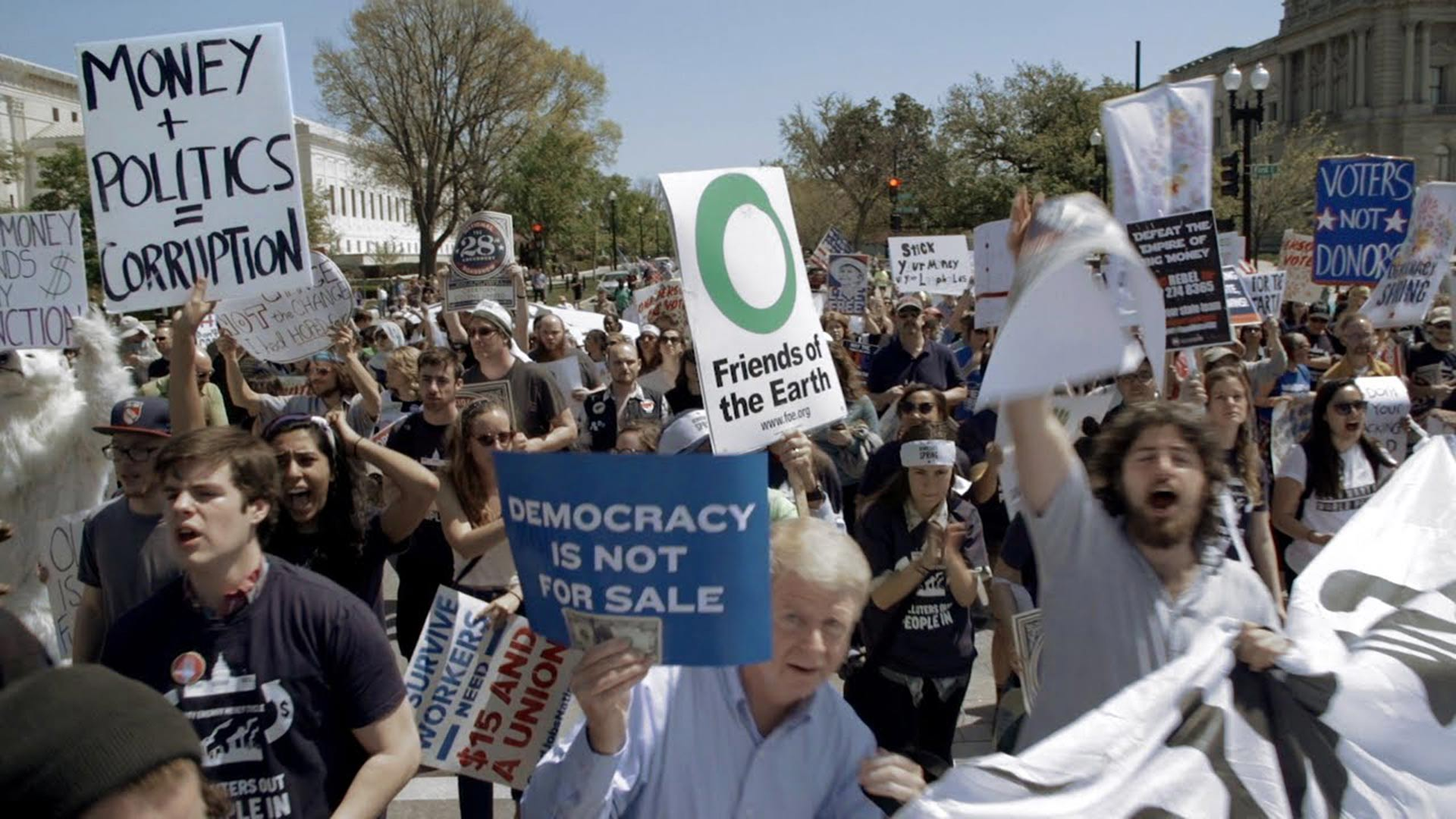 Protesters against dark money in Washington, D.C.