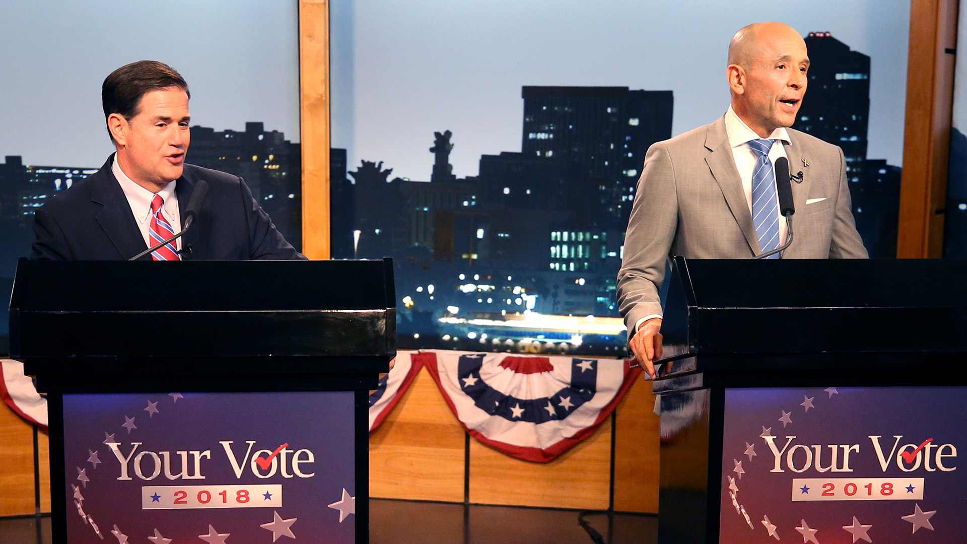 Gubernatorial candidates Republican Doug Ducey, left, and Democrat David Garcia at a televised debate in the AZPM studios, Tuesday, Sept. 25, 2018.