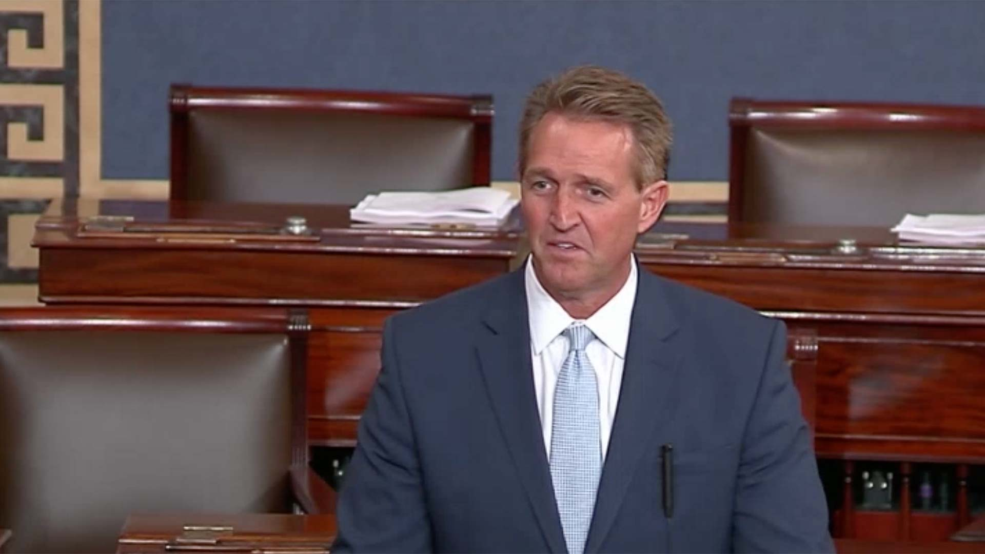 U.S. Sen. Jeff Flake speaks on the Senate floor about sexual assault allegations against Supreme Court nominee Brett Kavanaugh, Sept. 26, 2018.