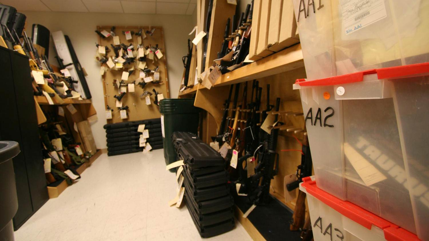 The Bureau of Alcohol, Tobacco and Firearms and Explosives (ATF) vault of seized weapons in Phoenix, Arizona.