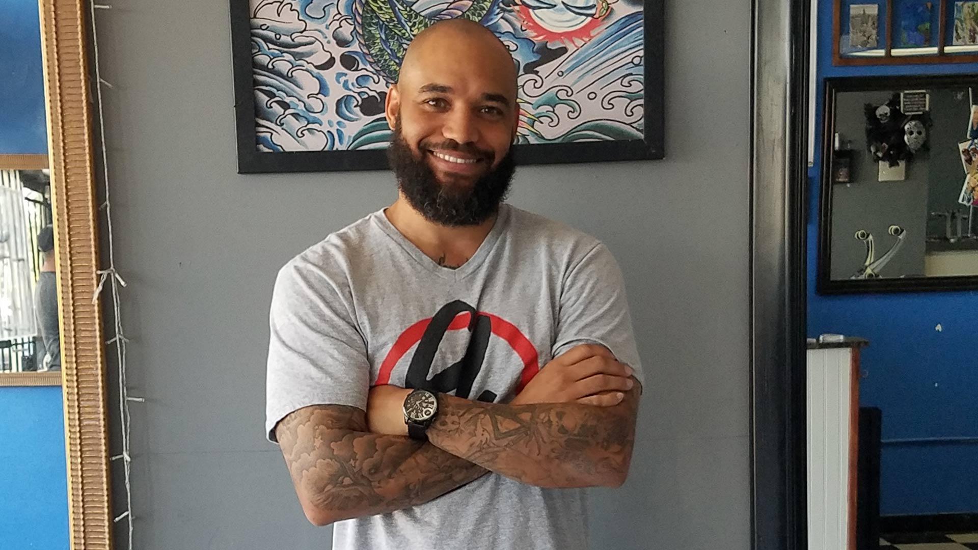 Clyde Hardin, tattoo artist.