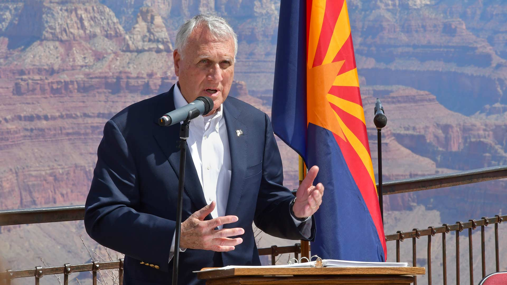 Jon Kyl at an event at the Grand Canyon honoring bipartisan legacies of late Arizona politicians Morris K. Udall and John McCain, who died after the April 2018 event.