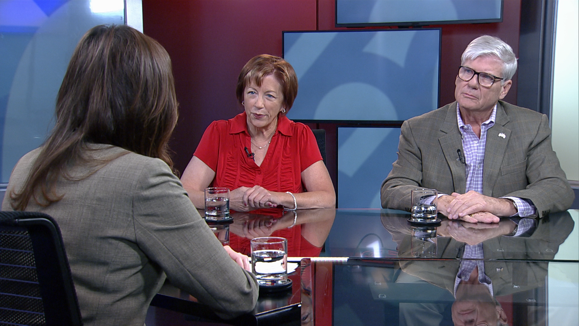 Jo Holt (left) and David Eppihimer (right) in the Arizona 360 studio. Respectively, Holt and Eppihimer lead the Democratic and Republican parties in Pima County.