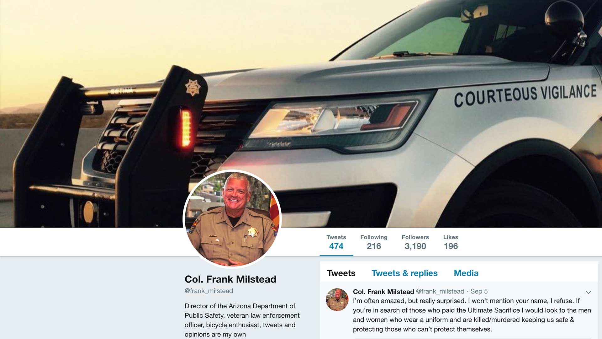 Image of Arizona Department of Safety Director Col. Frank Milstead's Twitter page.