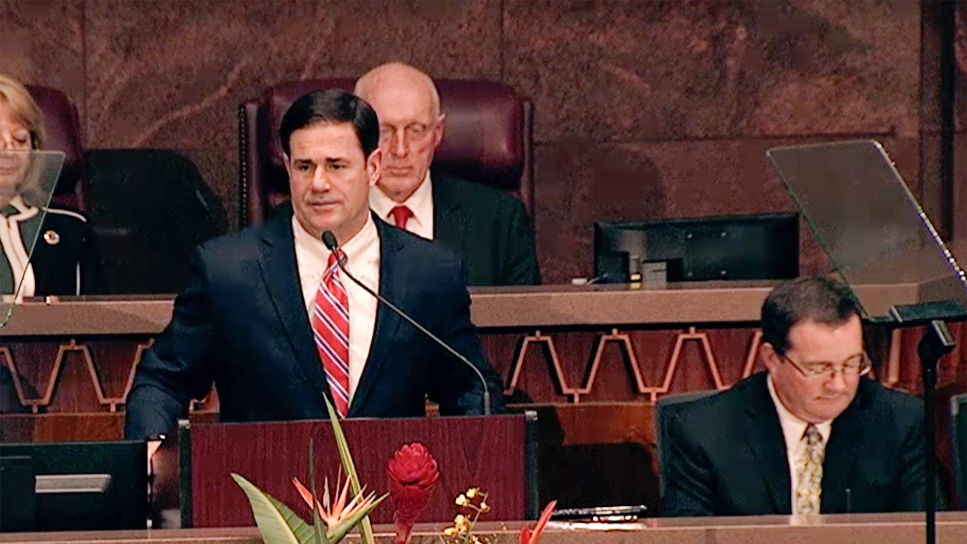 Gov. Doug Ducey delivered his 2019 State of the State address in this still image from a livestream.