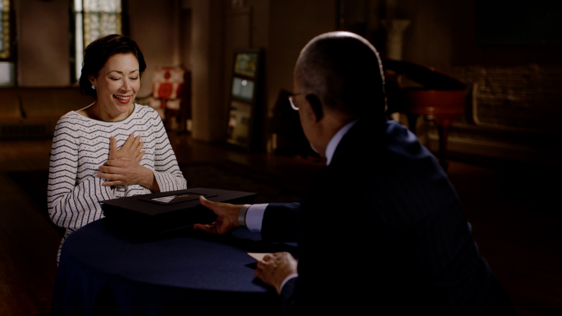 Host Henry Louis Gates, Jr. with journalist Ann Curry while taping Finding Your Roots.