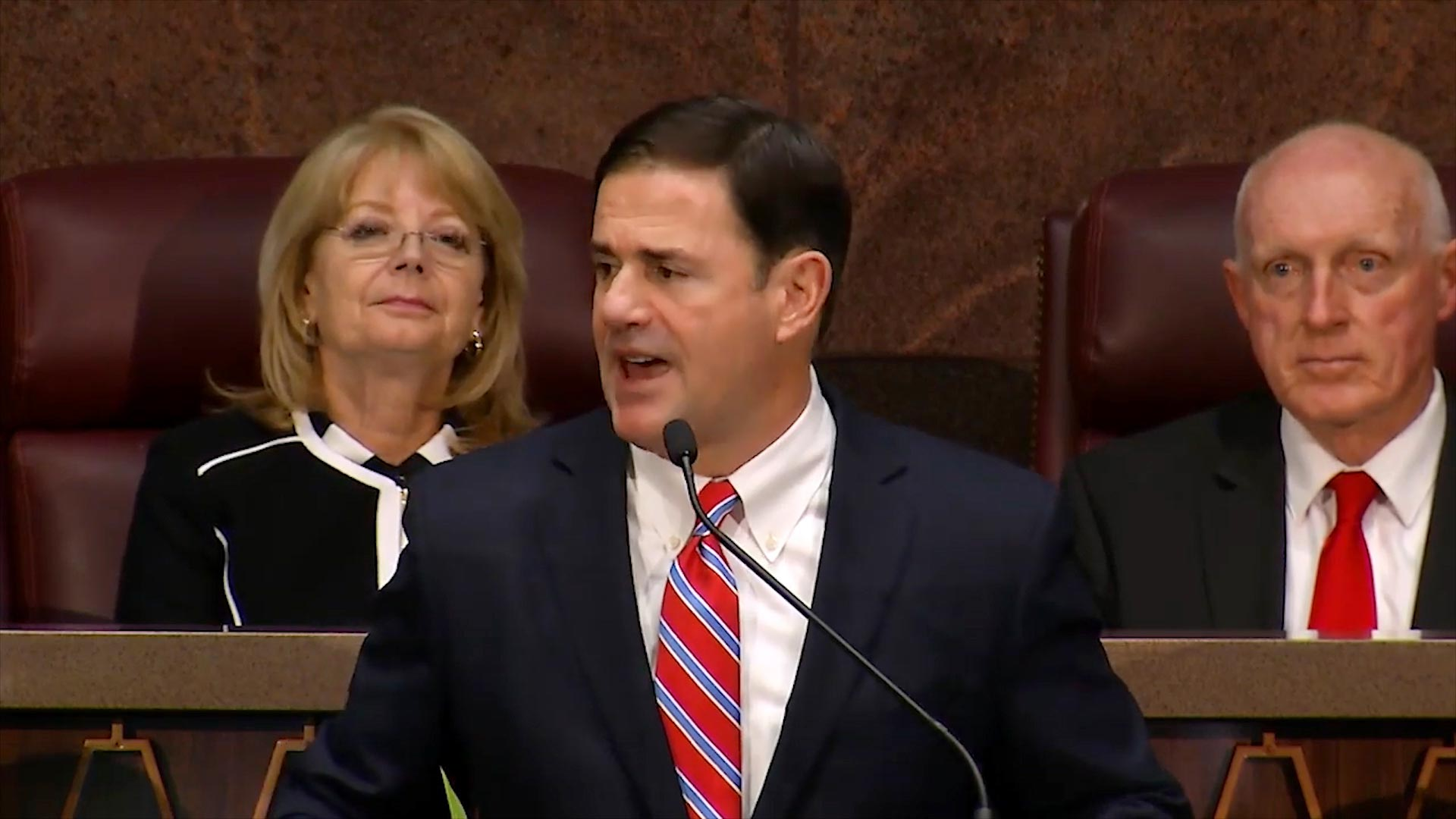 Republican Gov. Doug Ducey delivers his State of the State address at the State Capitol on January 14, 2019.