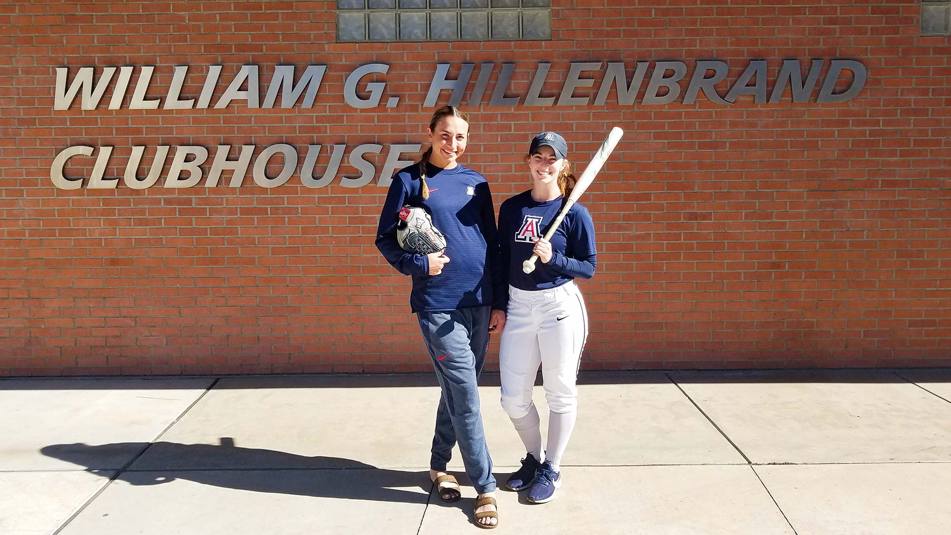 Pitcher Vanessa Foreman, left, and designated hitter, Tamara Statman.