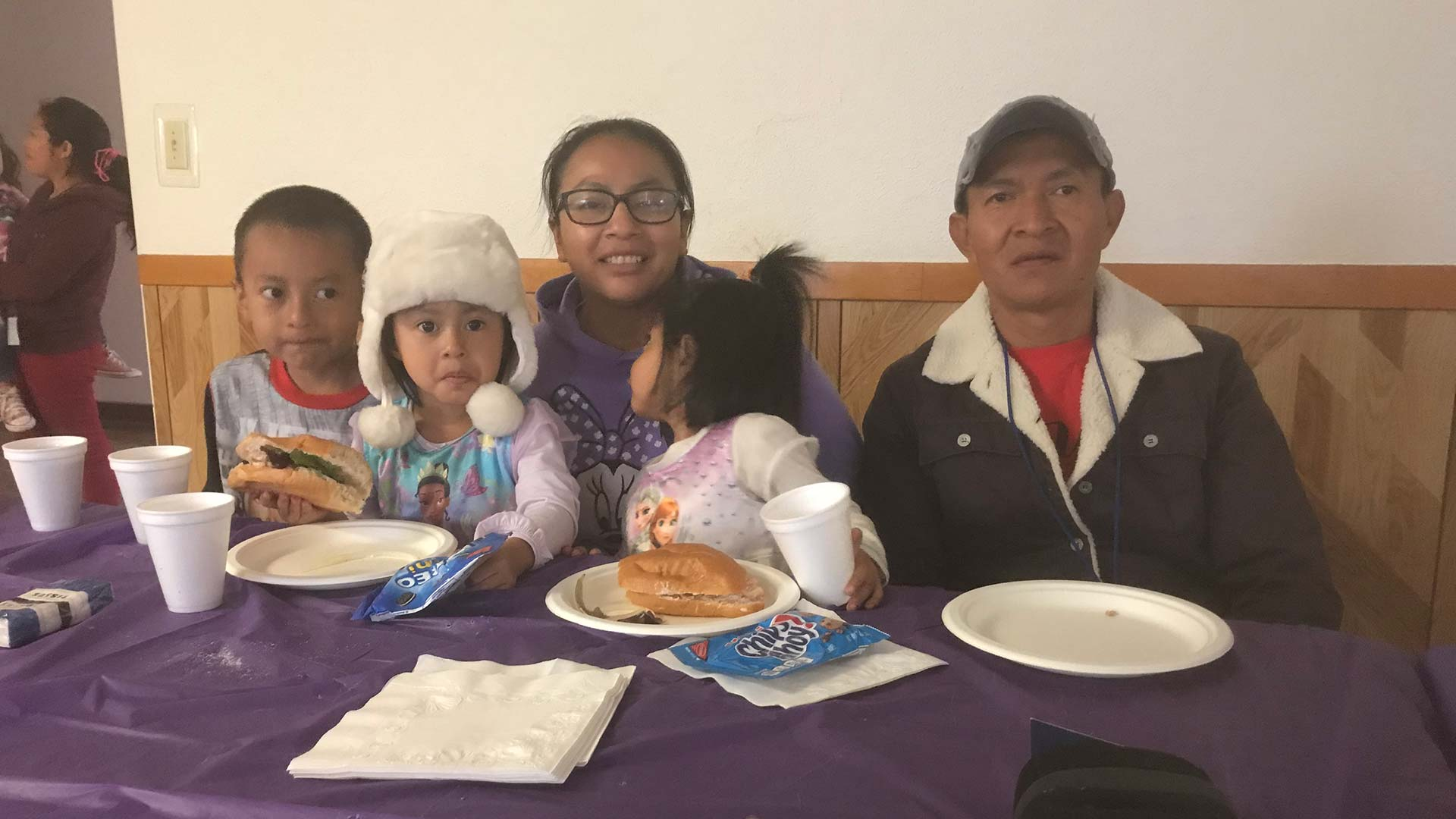 The Gallegos family spends the night at Tucson's Benedictine Monastery, Jan. 28, 2019. Their final destination is Tennessee.