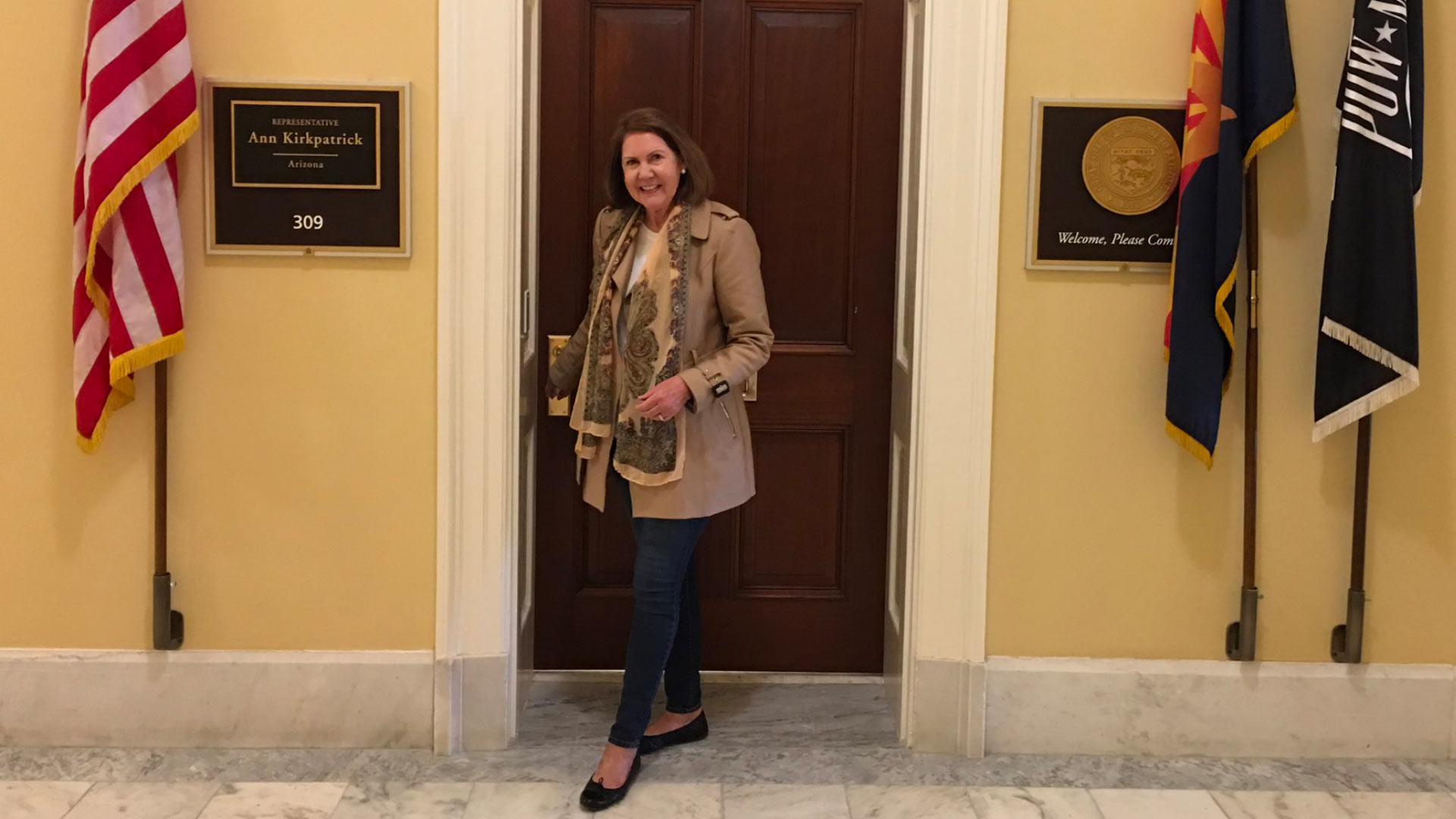 Rep. Ann Kirkpatrick, D-Tucson, stands outside her congressional office in Washington, D.C., in this photo posted on her official Twitter account.