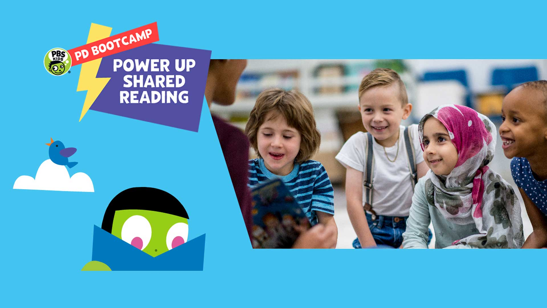 Power Up Shared Reading experience is a five-day bootcamp built to give K-3 teachers a crash course in Shared Reading.