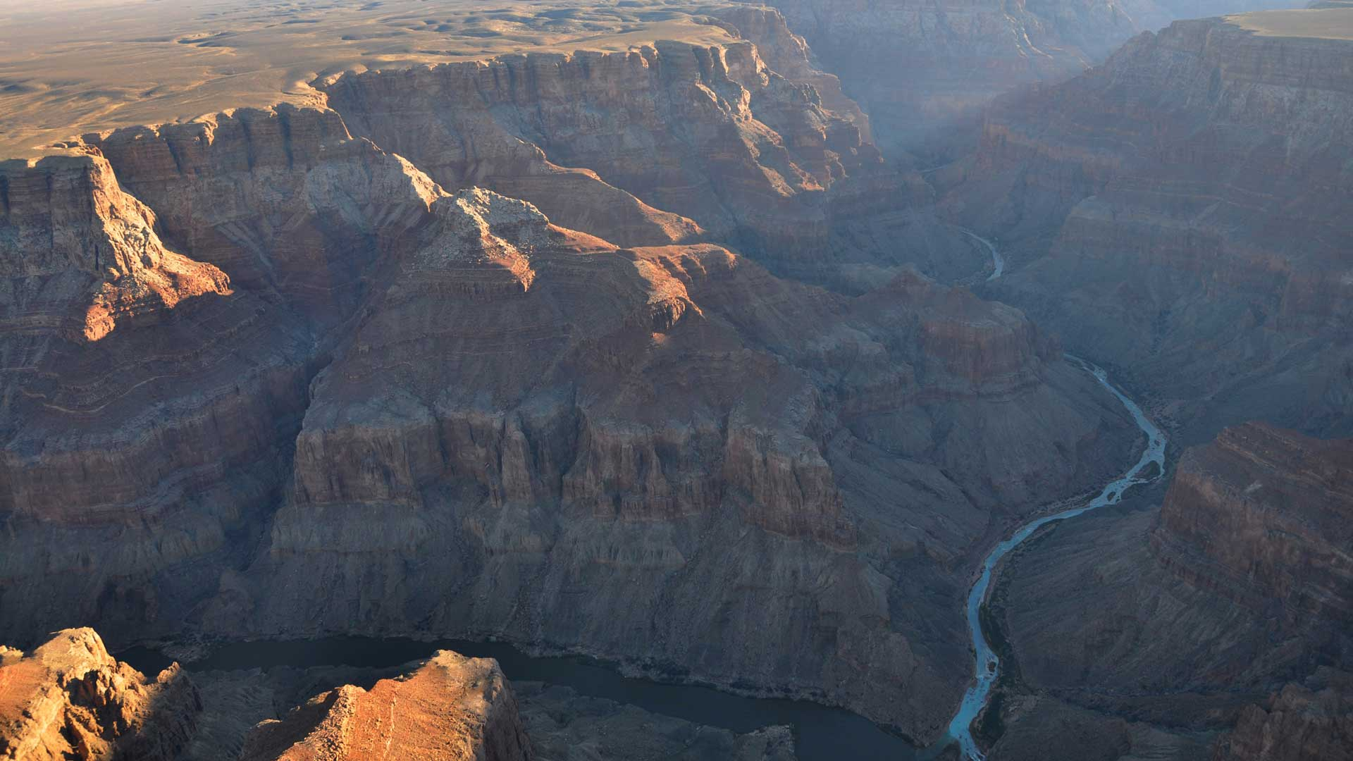 A view looking east with the confluence of the Little Colorado and Colorado rivers below, November 2010.