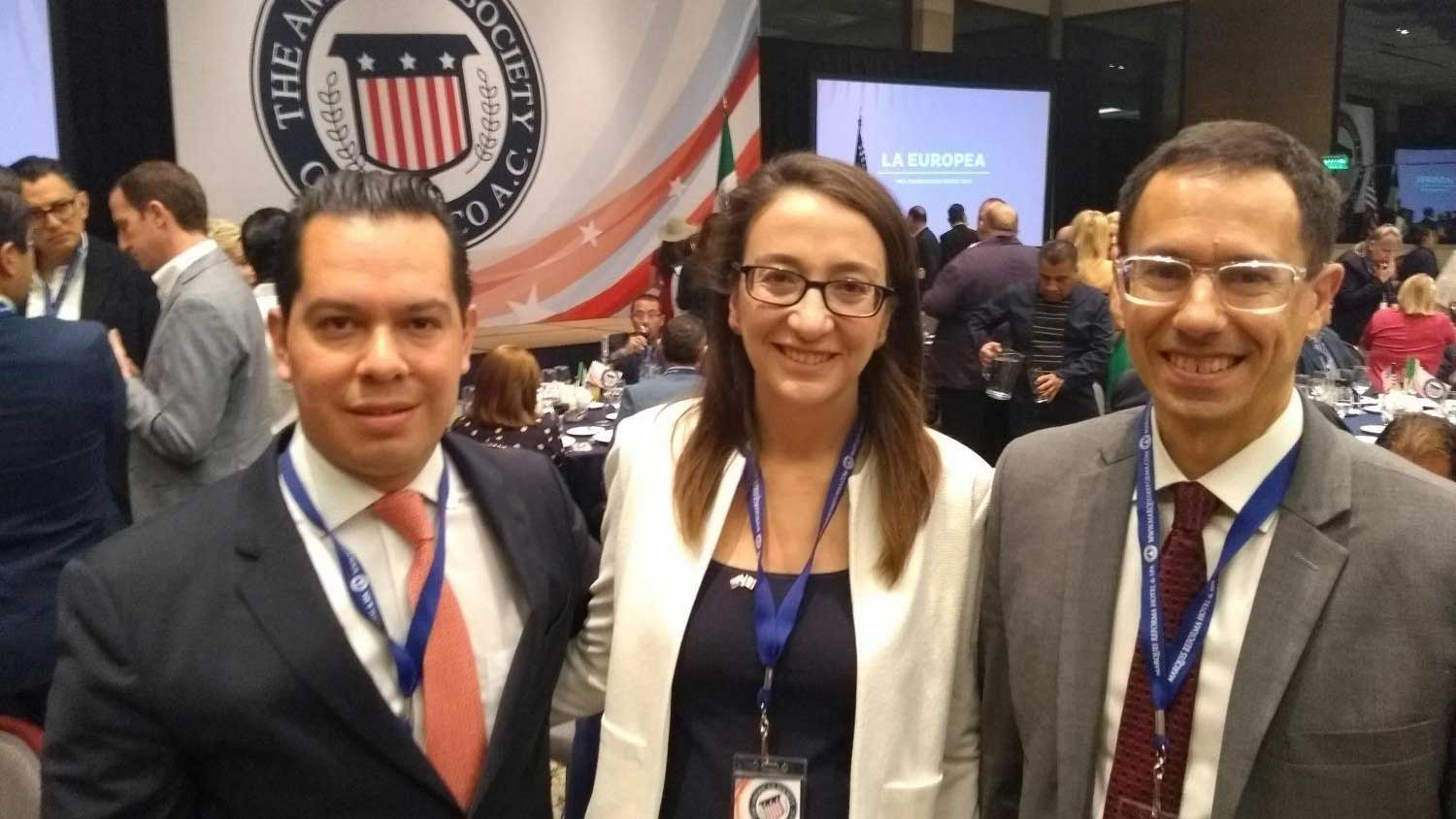 From left, trade representative in Mexico City José Andrés García, Arizona Trade and Investment Office in Mexico director Natalia Pérez and Arizona Chamber of Commerce and Industry President Glenn Hamer at an American Society of Mexico event.