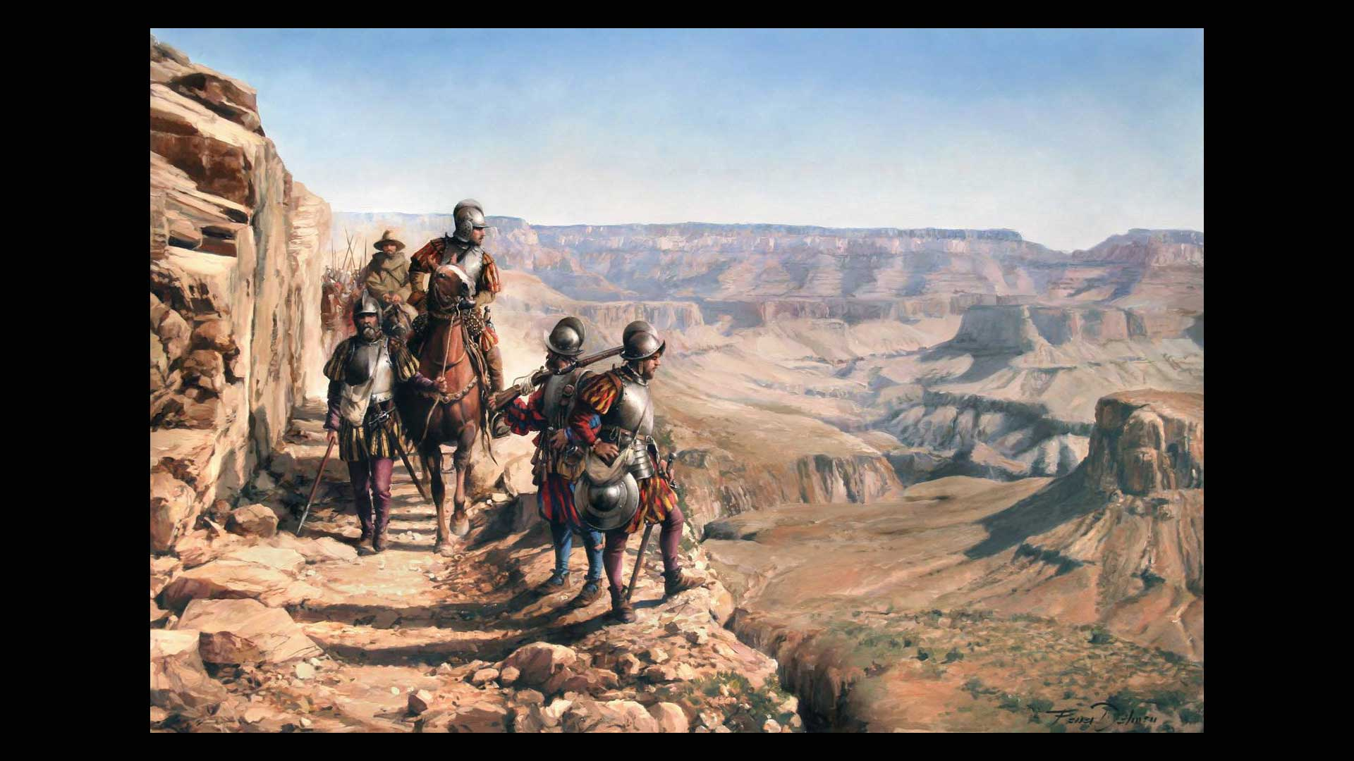 "Image titled ""La conquista del Colorado,"" by Augusto Ferrer-Dalmau, depicts 16th century Spanish conquistadors in the Grand Canyon."