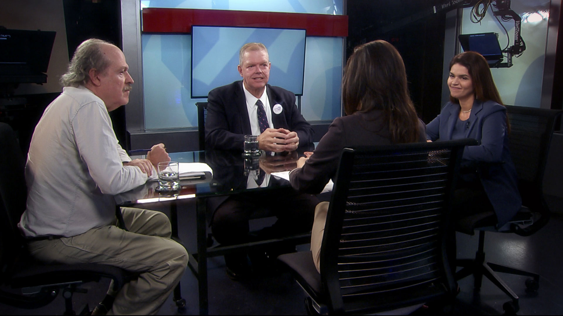 Candidates for mayor of Tucson, Mike Cease (G), Ed Ackerley (I) and Regina Romero (D) sit opposite Arizona 360 host Lorraine Rivera during an interview on October 16, 2019.