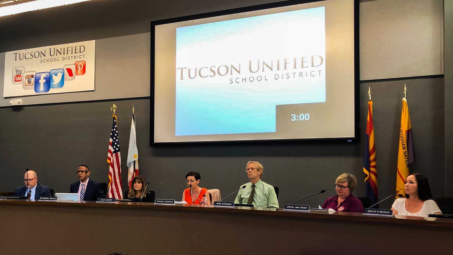 The TUSD Governing Board at its Aug. 8, 2019 meeting.