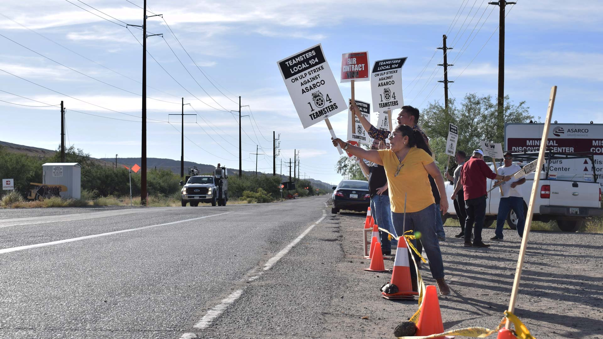 Striking workers picket outside the Mission Mine in Sahuarita on Oct. 16, 2019.