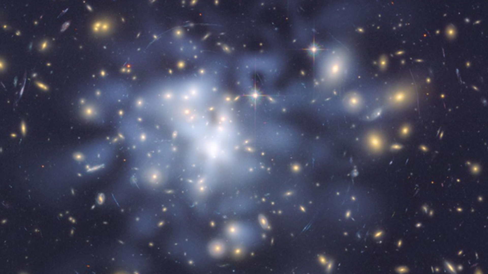 Scientists theorize dark matter exists in the space between galaxies.