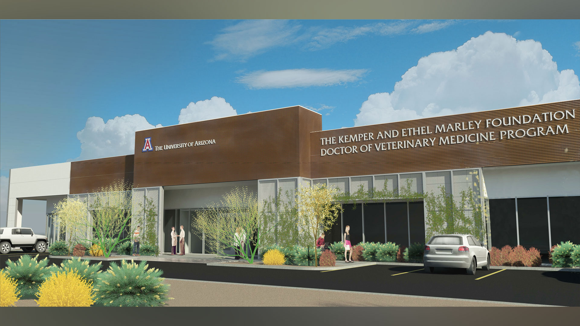 A rendering of the building for UA's recently approved veterinary medicine program.