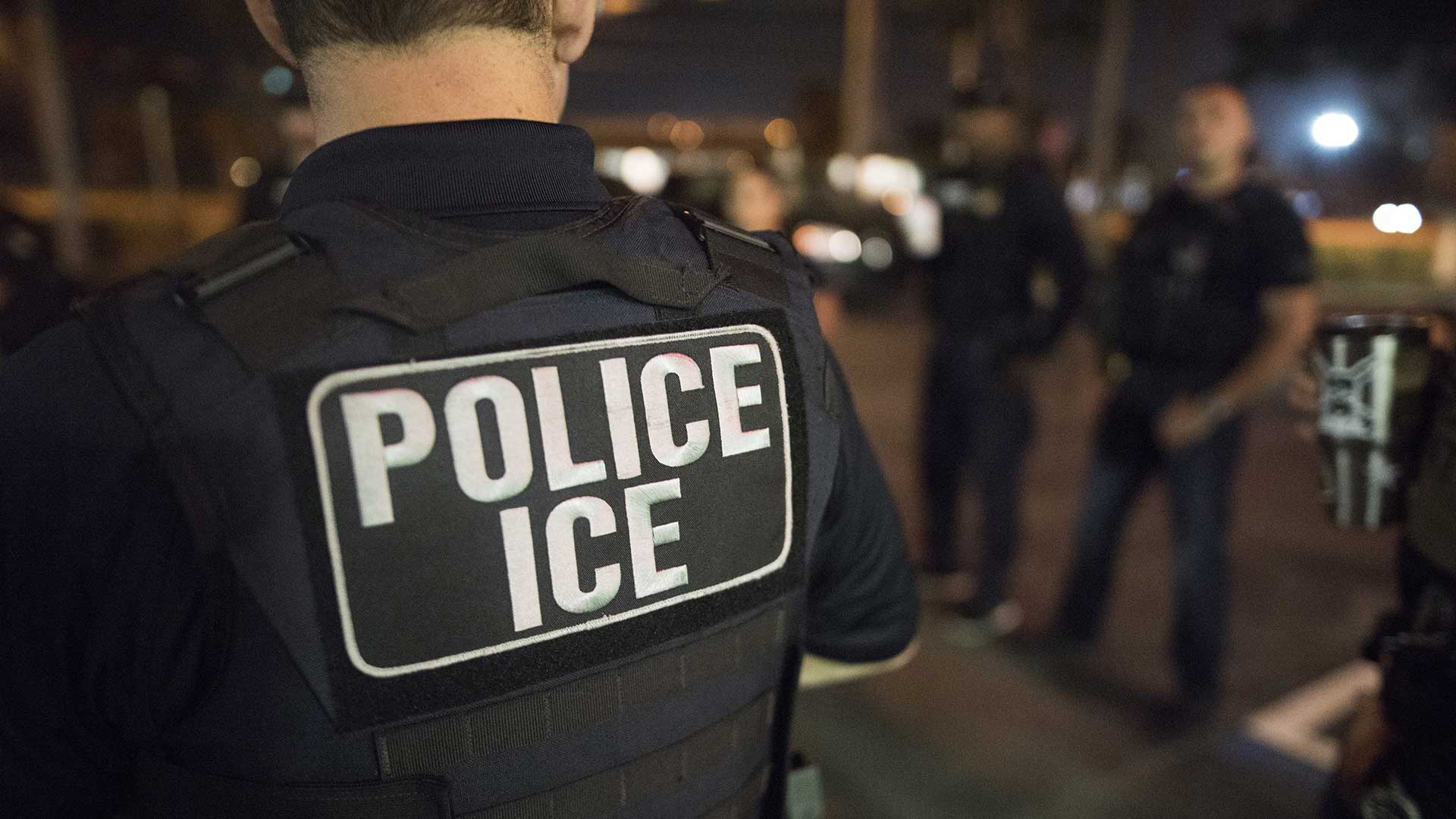 A March 2018 photo of U.S. Immigration and Customs Enforcement (ICE) officers.