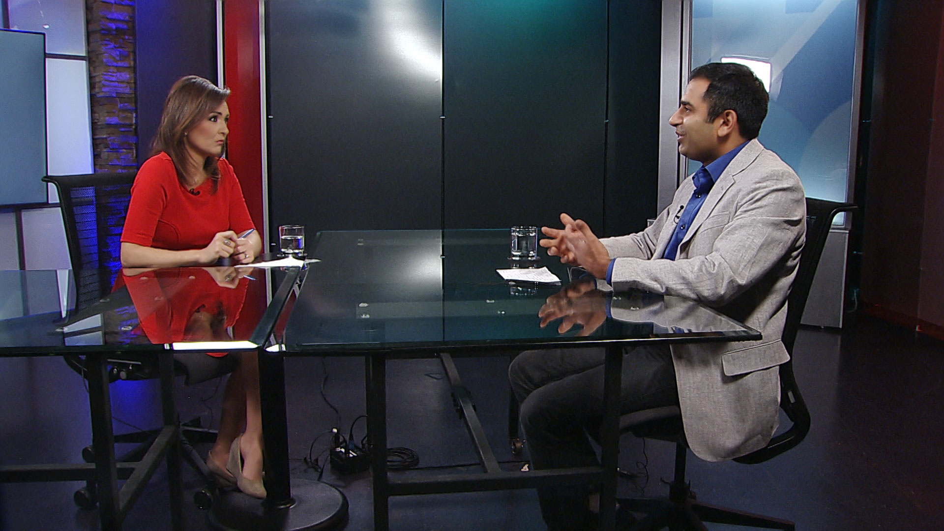 Ravi Tandon, an assistant professor in the University of Arizona College of Engineering, sits for an interview with Arizona 360 host Lorraine Rivera at Arizona Public Media.