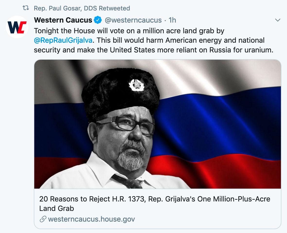 Western Caucus tweet about Grijalva