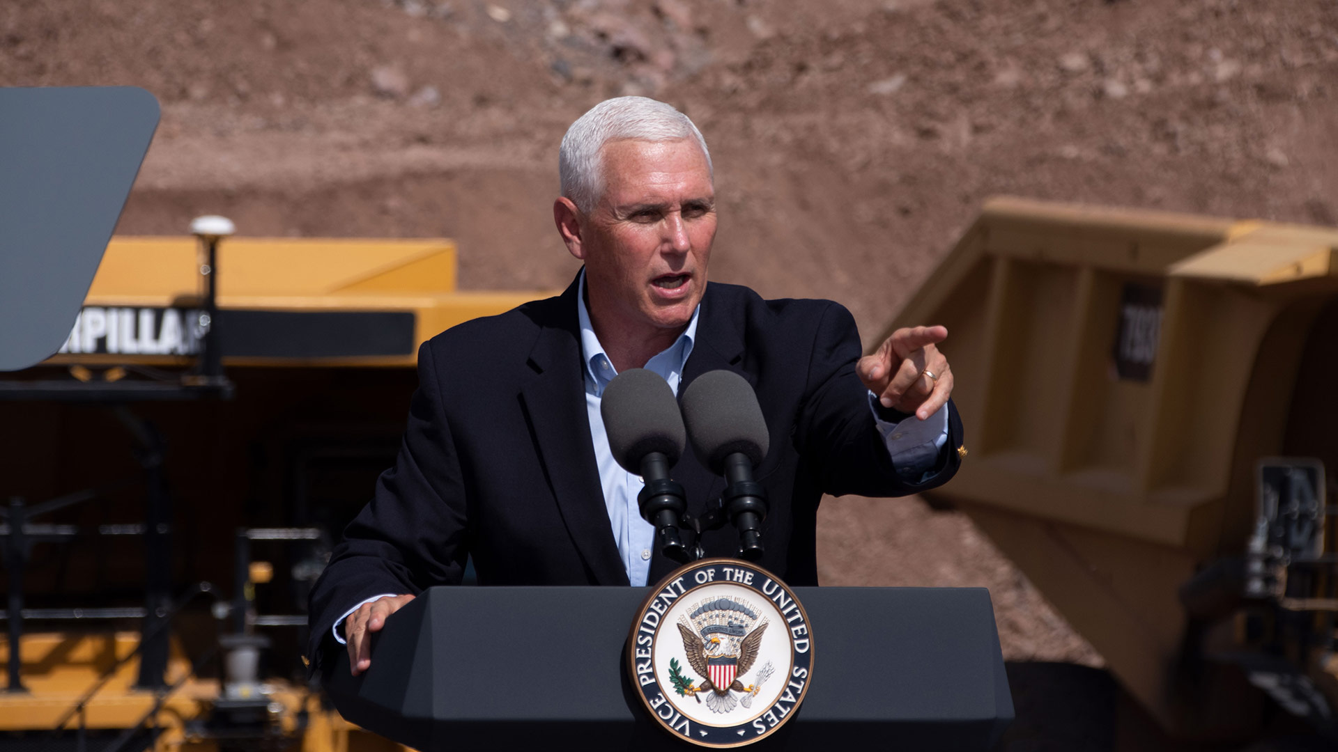 Vice President Mike Pence visited Caterpillar in Green Valley to push for passage of the USMCA. October 3, 2019