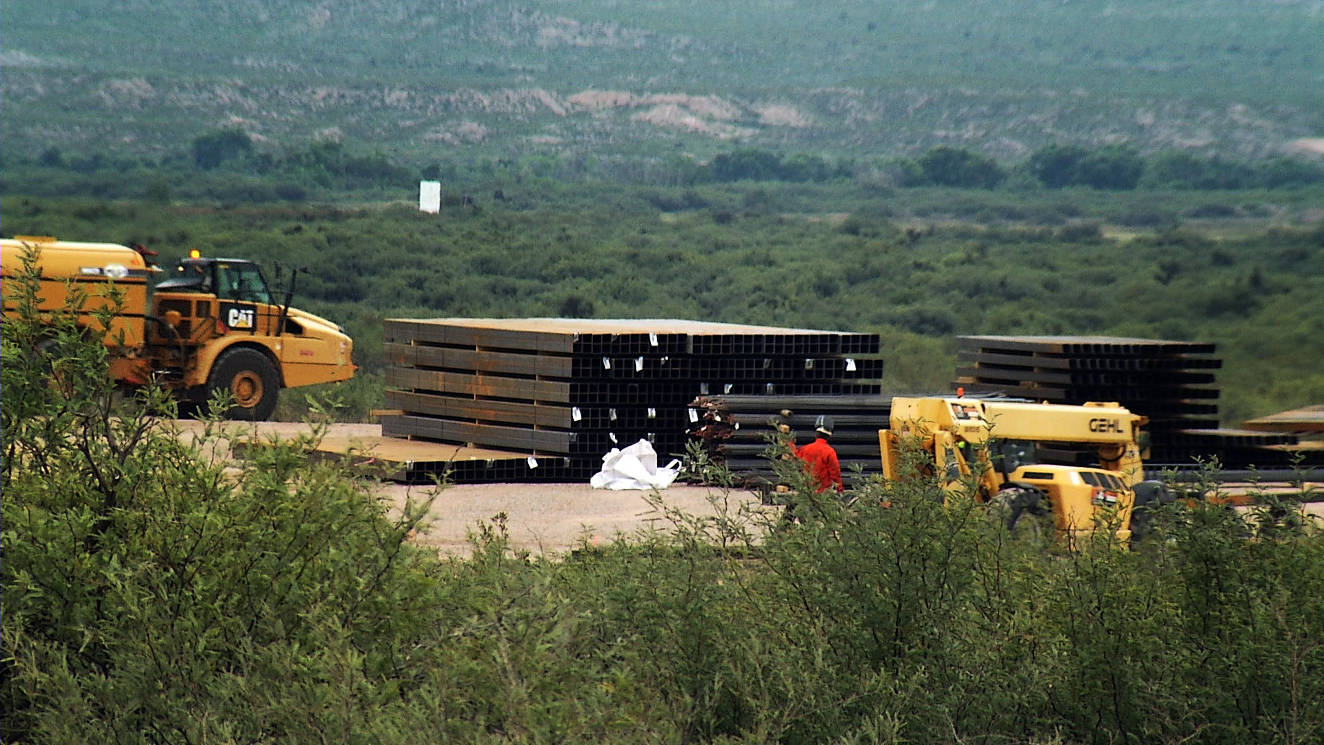 A cement batch site on a rancher's property east of Douglas leased by Southwest Valley Constructors for border wall construction.