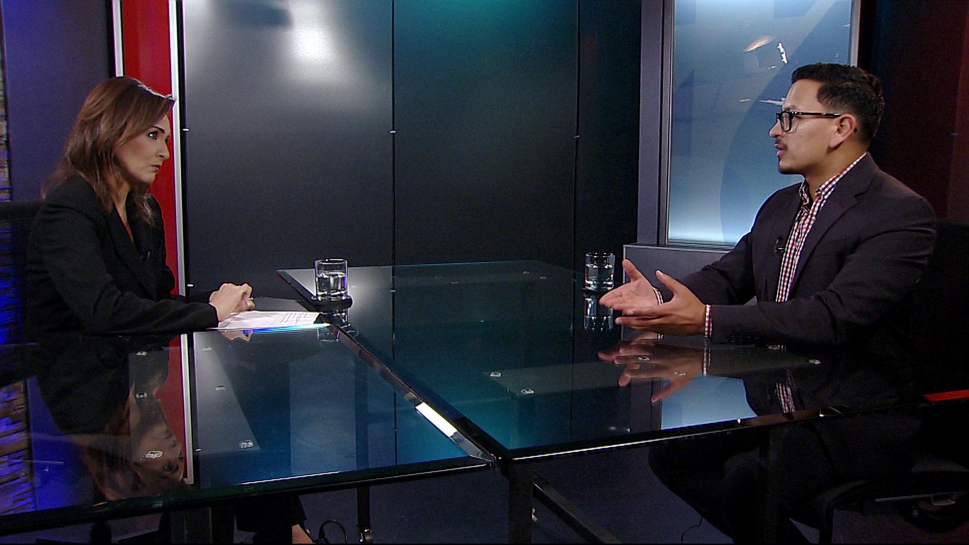 Arizona Republic reporter Rafael Carranza sits for an interview with Arizona 360 host Lorraine Rivera on October 3, 2019.