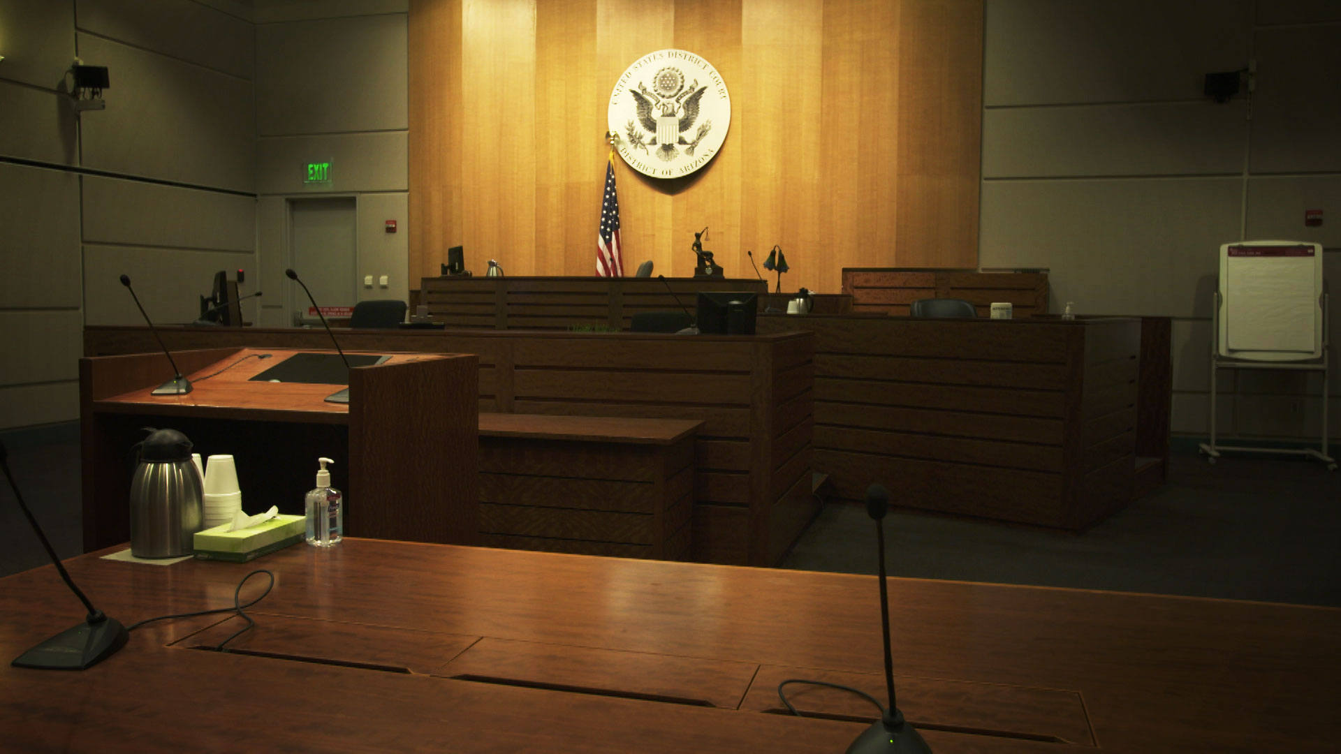 The interior of an empty court room at the U.S. District Court in Tucson.