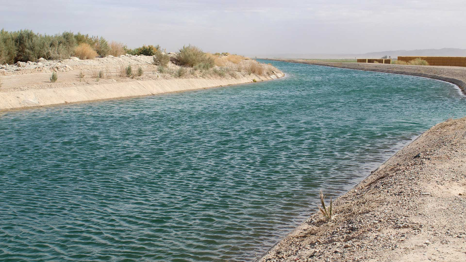 A canal carries Colorado River water to farmland near Poston, Arizona, owned and operated by the Colorado River Indian Tribes, a key player in Arizona's Drought Contingency Plan.