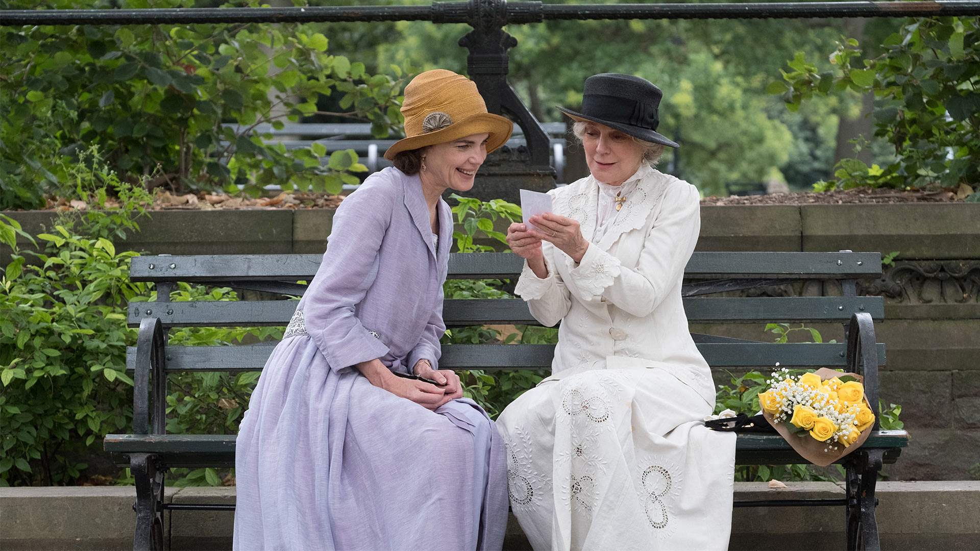 Shown from left to right: Elizabeth McGovern and Blythe Danner in The Chaperone