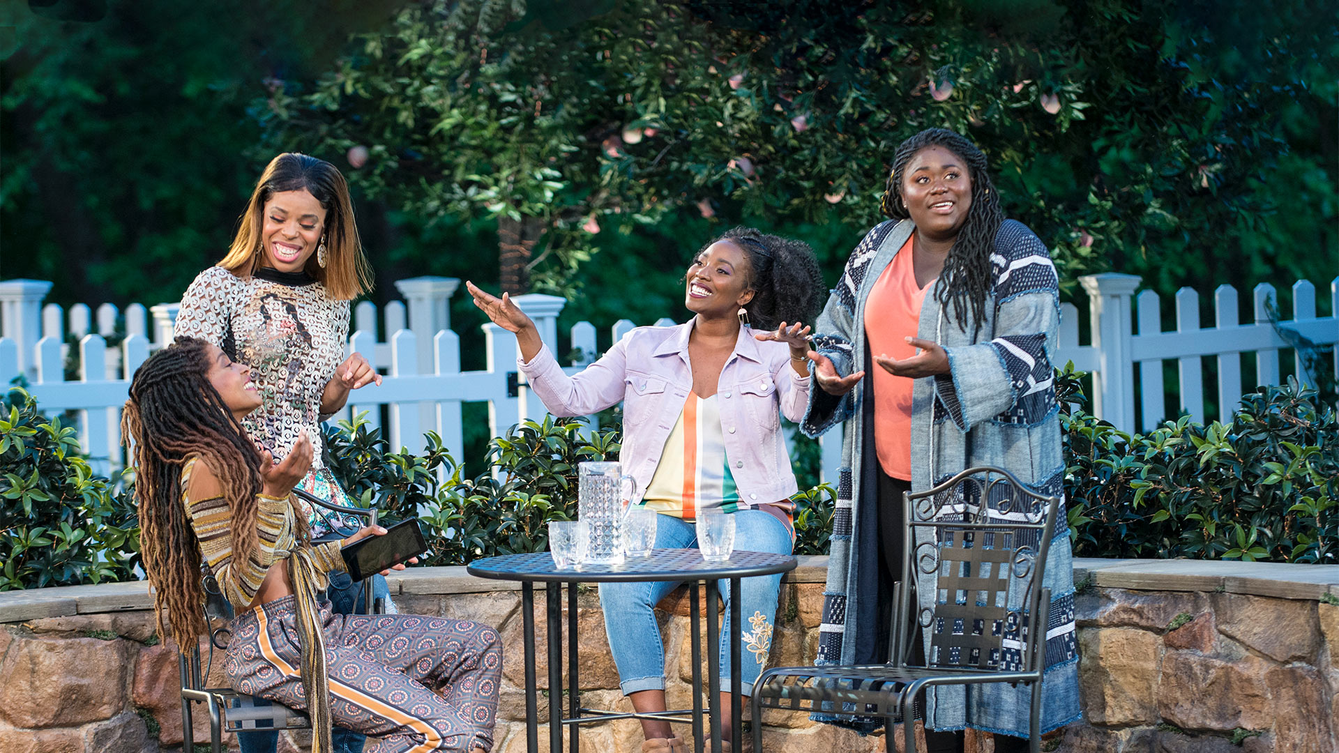 Margaret Odette, Tiffany Denise Hobbs, Olivia Washington, and Danielle Brooks in MUCH ADO ABOUT NOTHING.