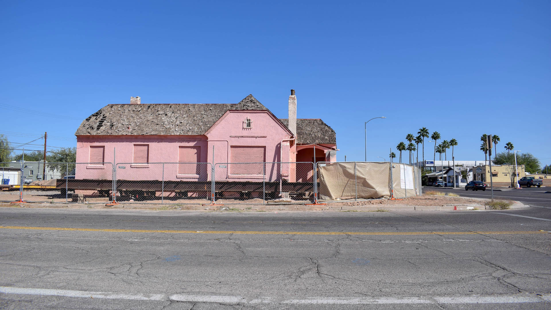 Historic bungalows along Broadway Blvd were moved as part of the preparation for widening of the road.