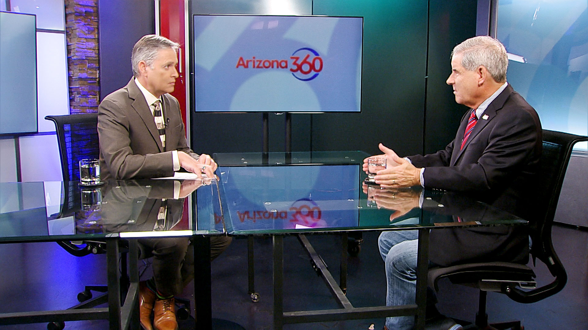 The Arizona Republican Party's National Committeeman Bruce Ash sits for an interview with Christopher Conover at Arizona Public Media on November 15, 2019.