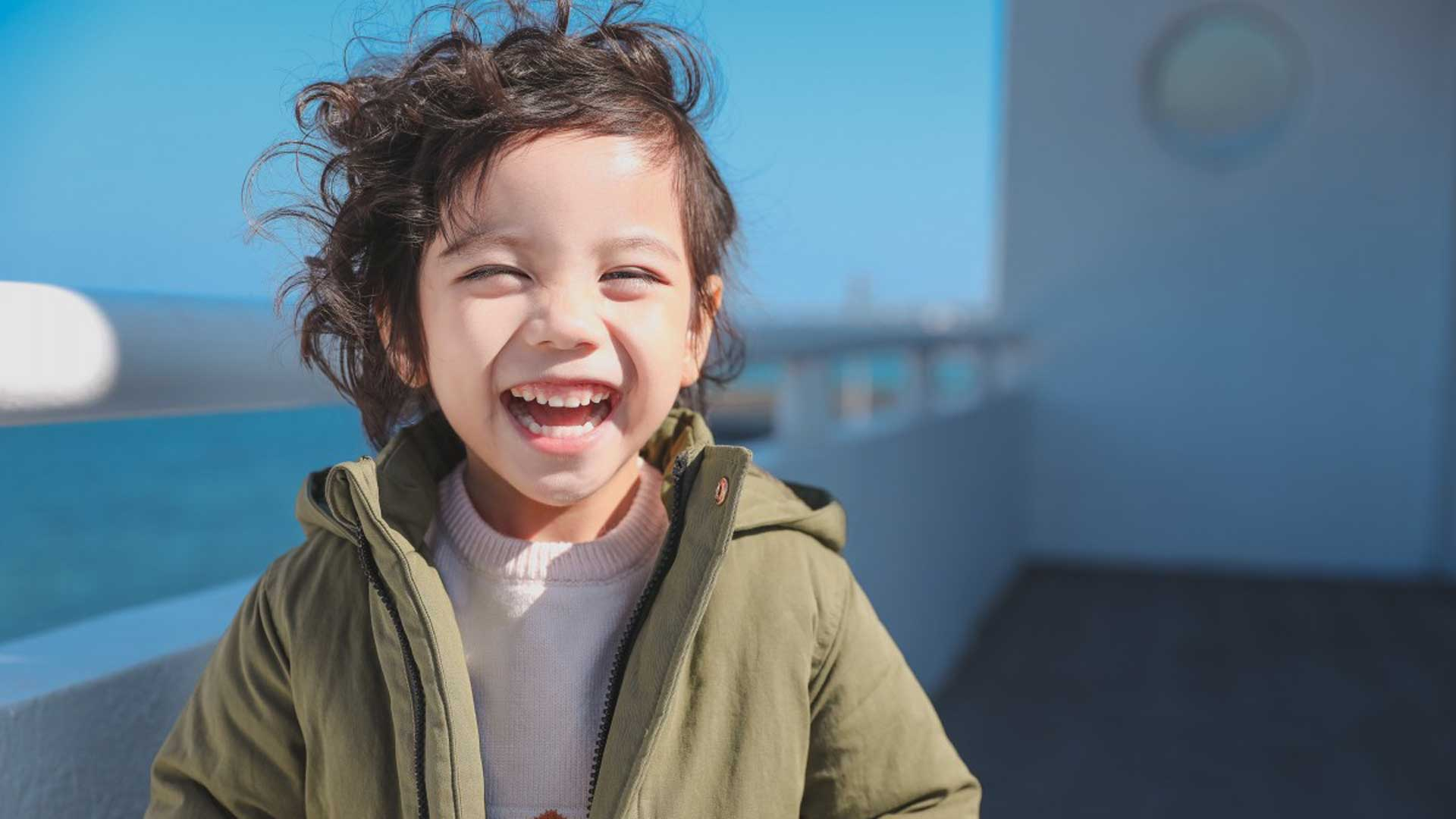 A child smiling.