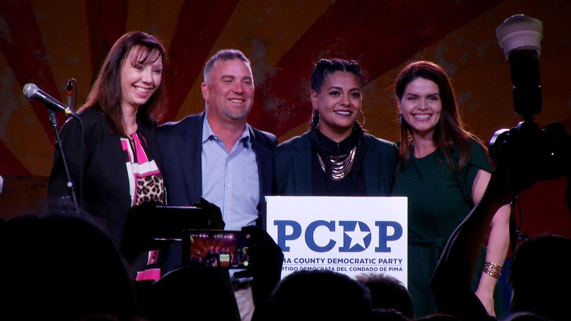 From left: Nikki Lee, Paul Cunningham, Lane Santa Cruz and Regina Romero pose for a photo during an election night party at Hotel Congress on November 5, 2019. All four Democrats won their respective races.