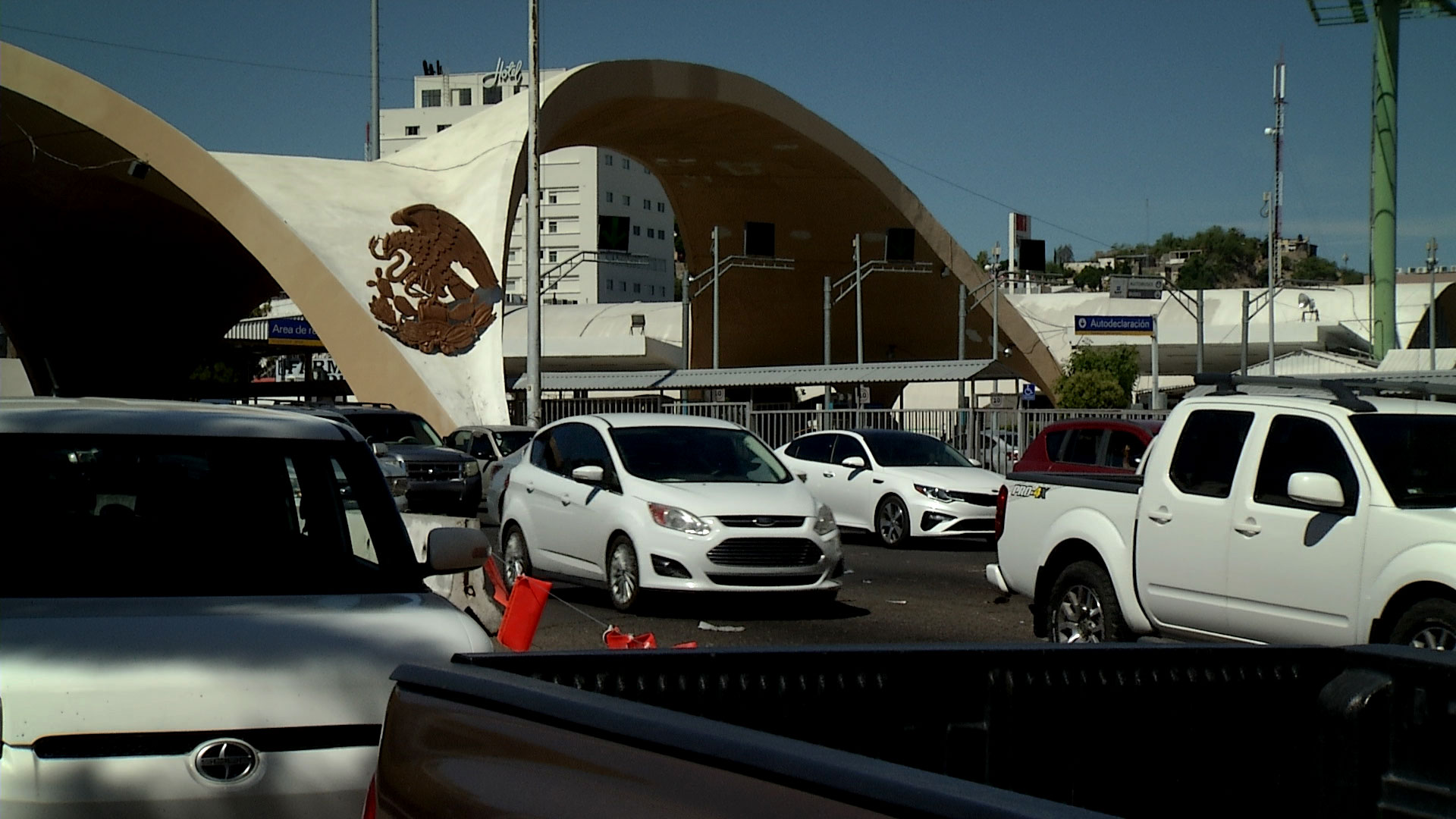 Vehicles wait to enter Nogales, Arizona at the Dennis DeConcini Port of Entry in May 2019.