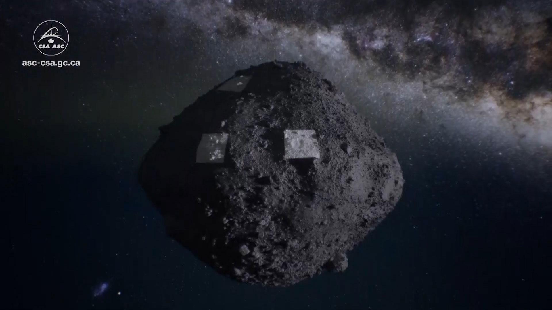 A digital illustration of the asteroid Bennu.