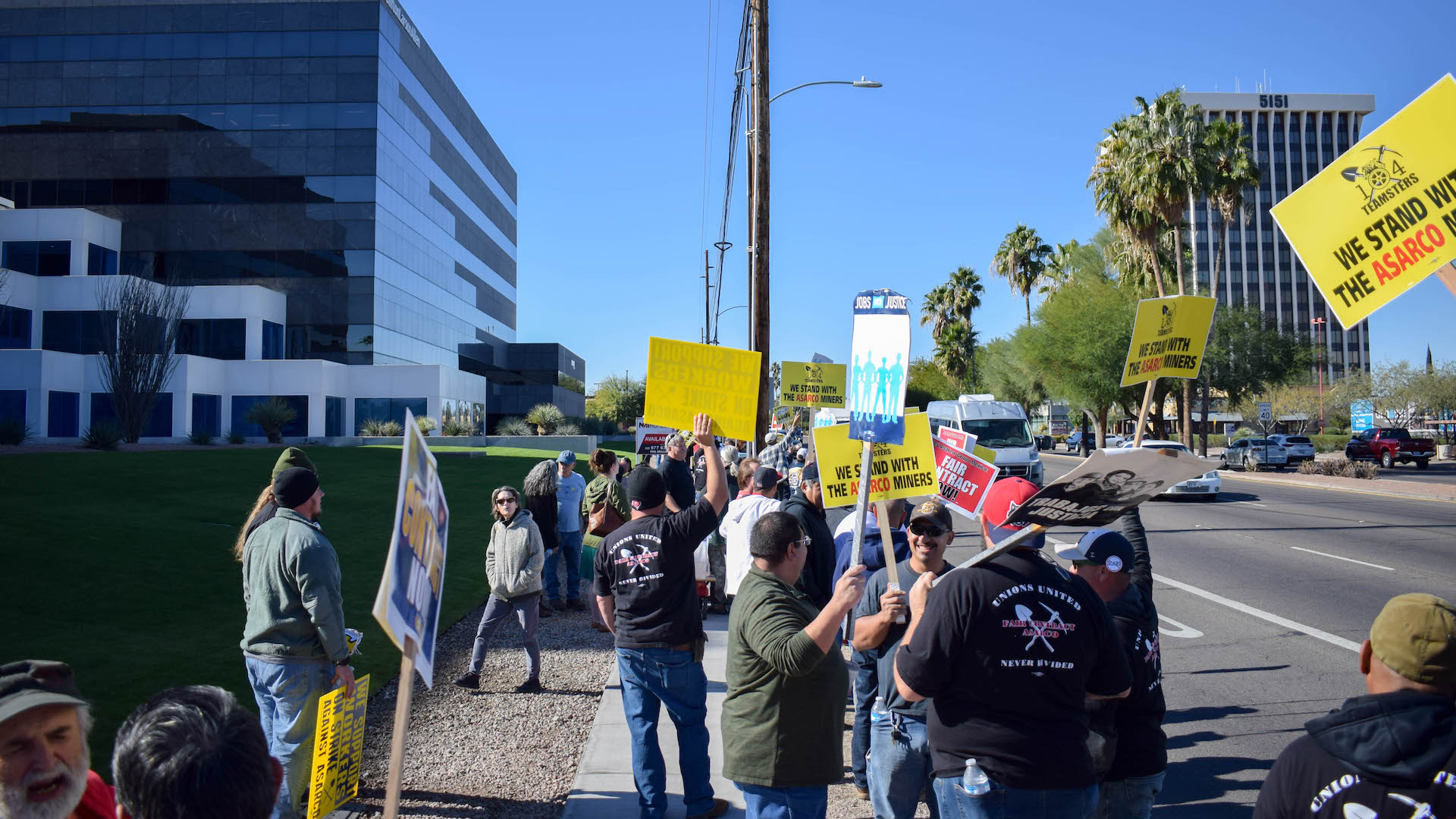 Mine workers striking in front of Asarco's Tucson office on Dec. 16, 2019.