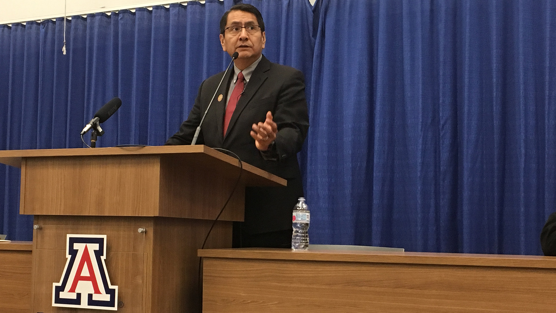 Navajo Nation President Jonathan Nez speaking to law students about the importance of nation building at the James E. Rogers College of Law, Tuesday, Dec. 3, 2019.