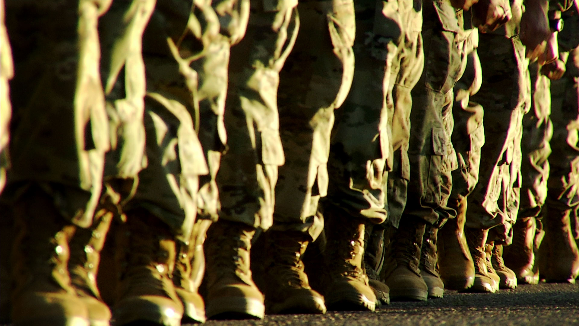 The boots of soldiers as they march in formation at Fort Huachuca in October 2019.
