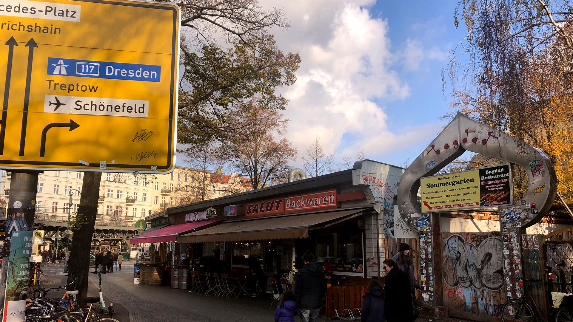 The view of Oppelner Strasse in a multicultural neighborhood in Berlin, Germany.