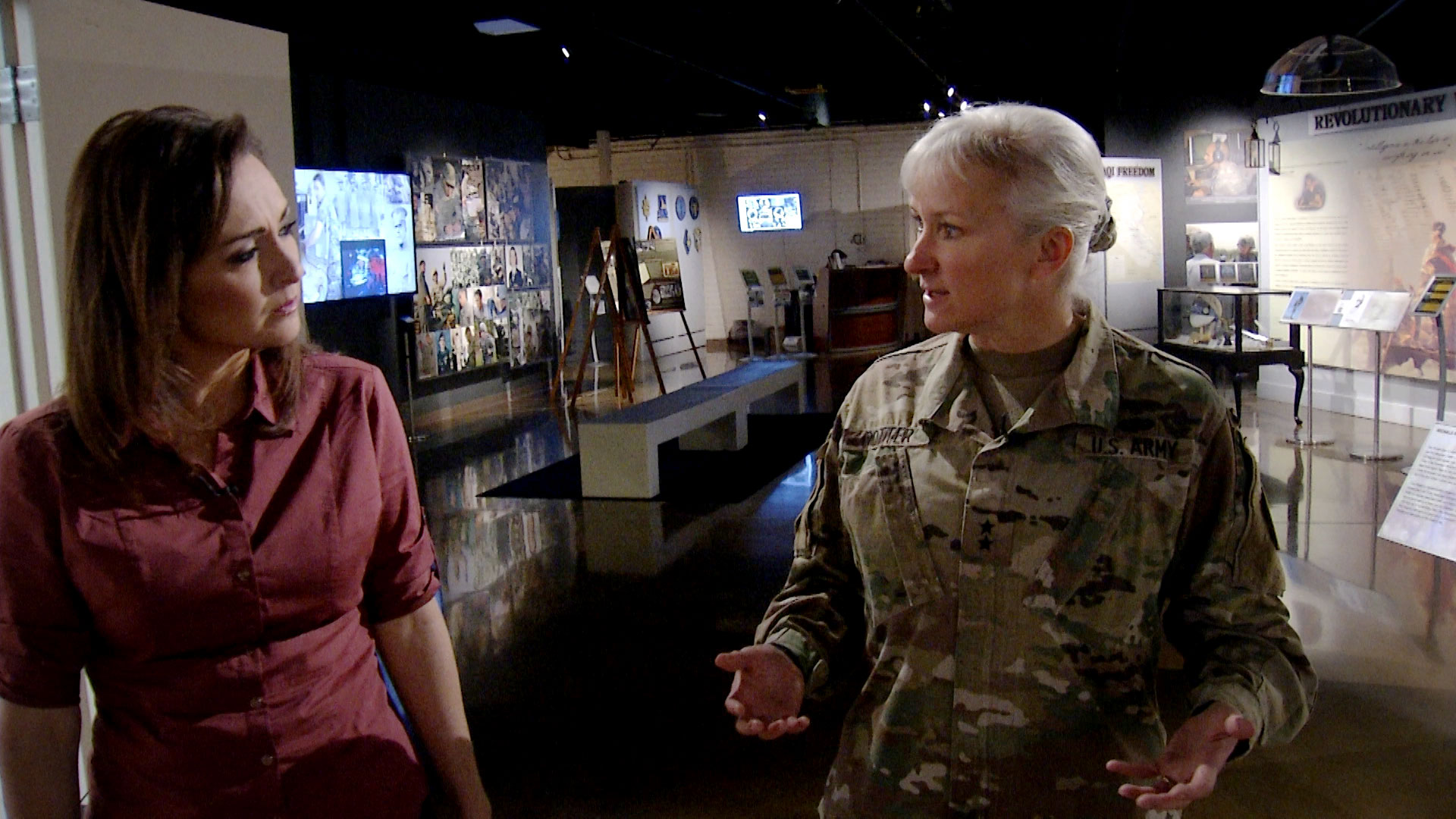 Lorraine Rivera and Maj. Gen. Laura Potter during an interview at Fort Huachuca in October 2019. Potter is commander of the post.