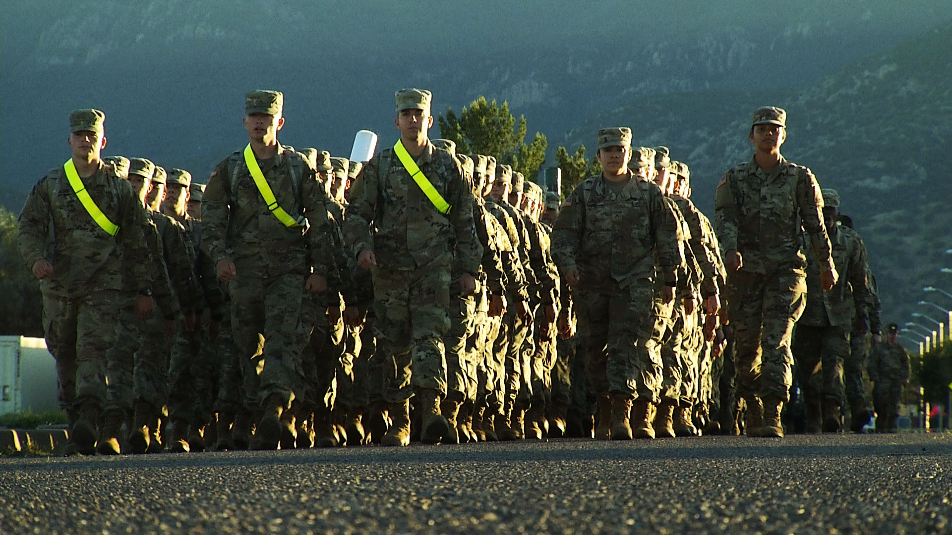 Soldiers march in formation at Fort Huachuca in October 2019.