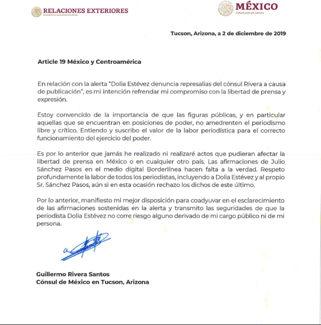 mexican consulate letter