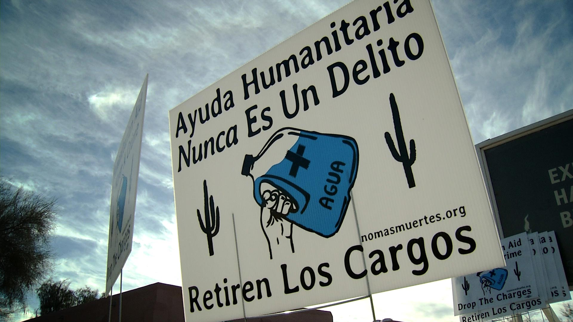 A yard sign supporting the humanitarian aid group No More Deaths.