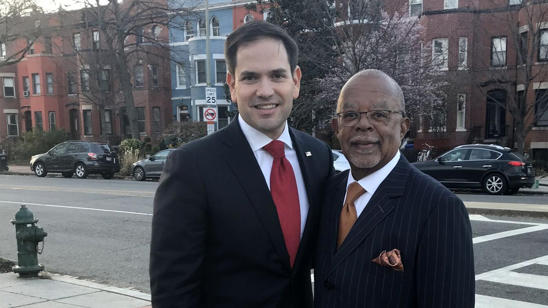 Host Henry Louis Gates, Jr. with politician Marco Rubio while taping Finding Your Roots.