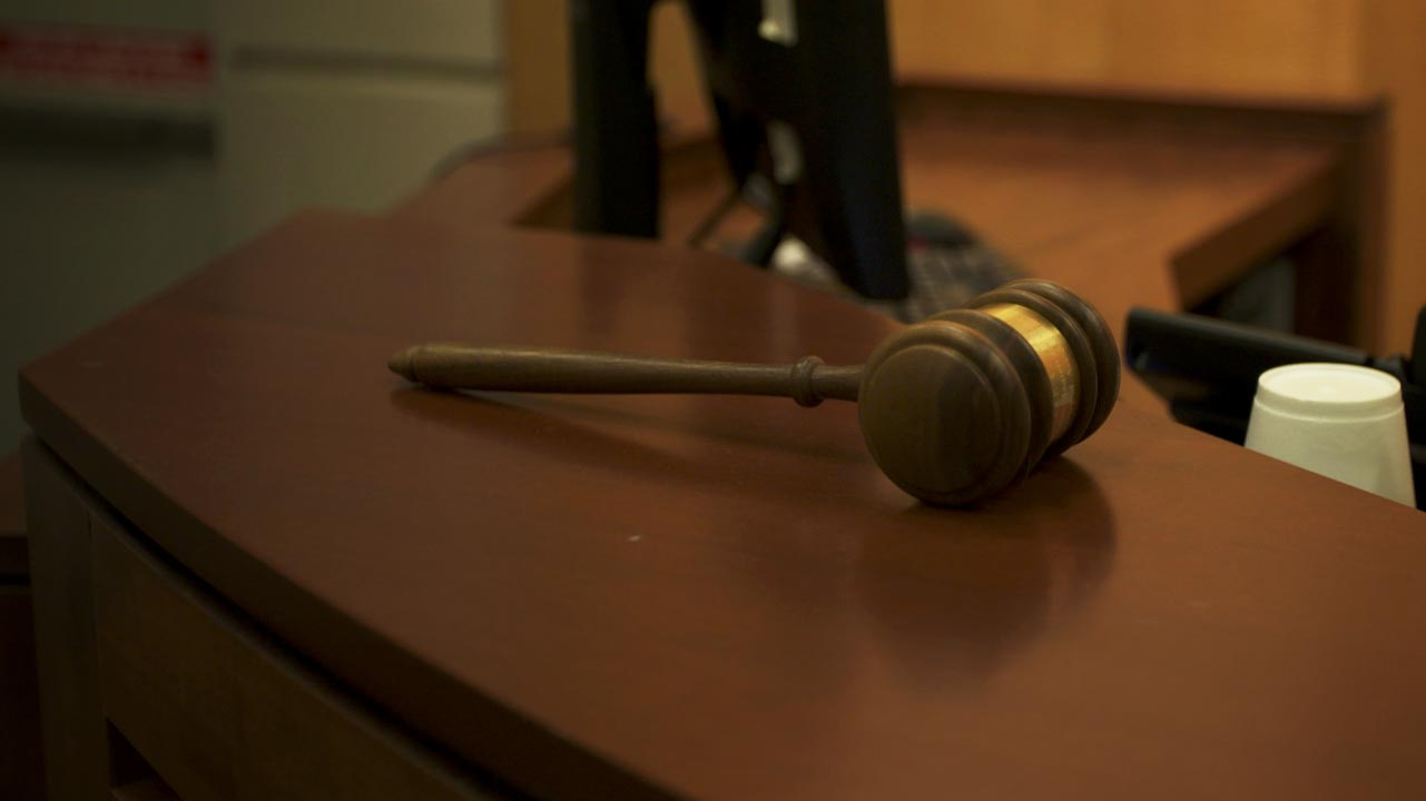 A file image of a judge's gavel in a courtroom at the U.S. District Court for the District of Arizona.