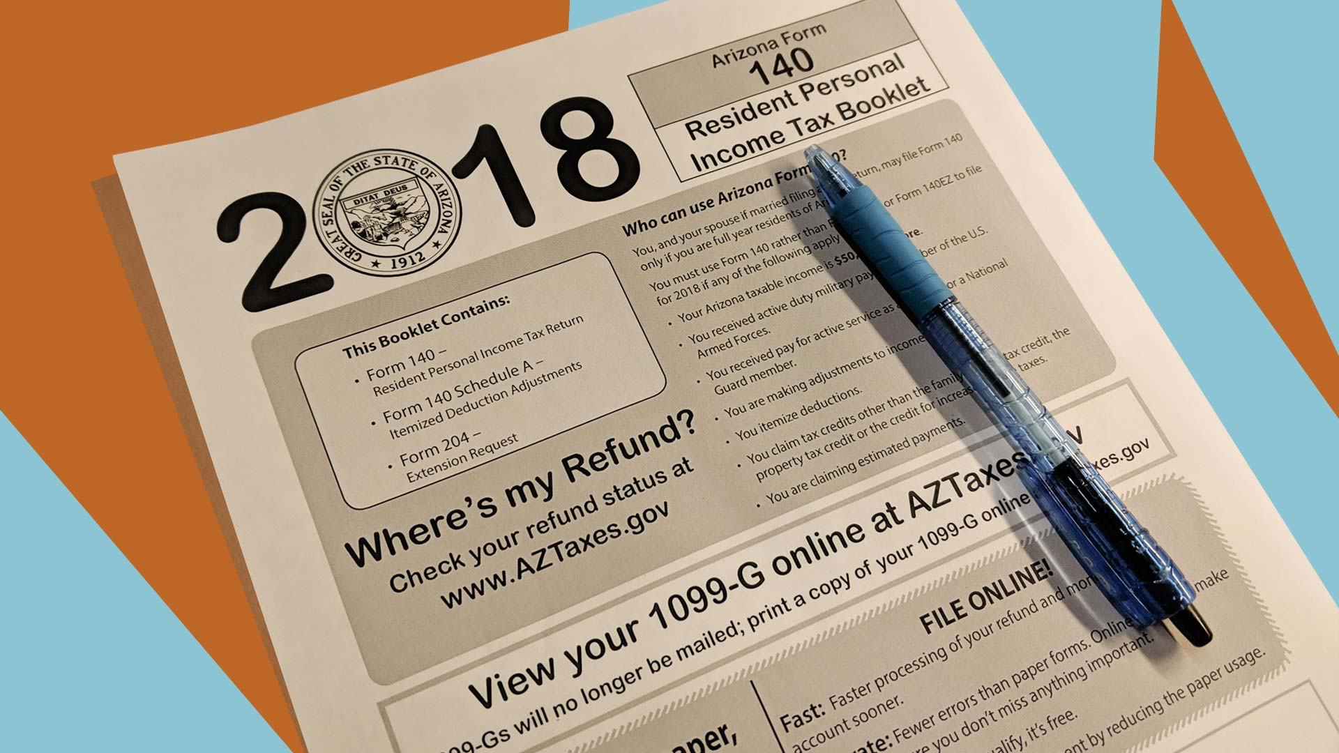 The 2018 Arizona tax booklet.